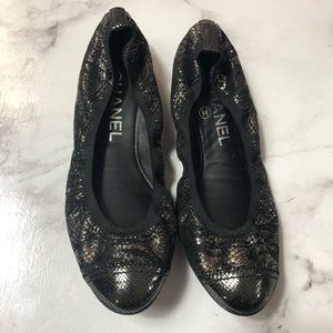 Chanel metallic flats